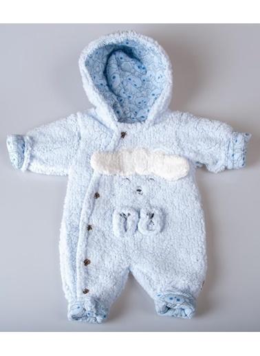 POKY Kız Erkek Bebek Kuzu Figürlü Düğmeli Peluş Kumaş Astronot Tulum 399 Bbzd Mavi